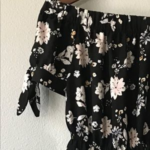 Black Floral Off The Shoulder Maxi Dress Size Sm